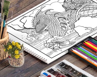 WATER DRAGON: A Printable Adult Coloring Page