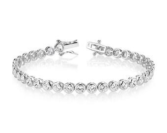 Womens Silver Bezel Set Tennis Bracelet 5mm Round Cubic Zirconias CZ Diamante