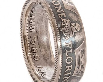 British Silver Florin Coin Ring