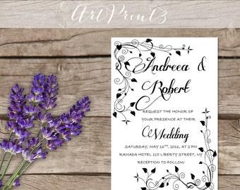Printable Wedding Invitation Modern Wedding Printable Suite
