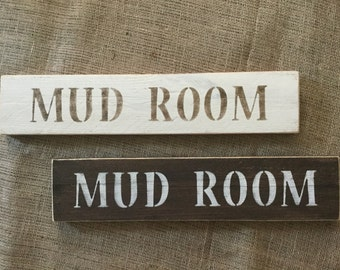 Mud Room sign, reclaimed wood mud sign, cream mud room wood sign, rustic mud room sign, brown mud room sign, pallet wood mud room sign