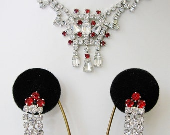 Vintage Jay Flex Sterling Silver Rhinestone Necklace And Dangle Drop Earring Set Red And Clear Stones Screw Type Earrings