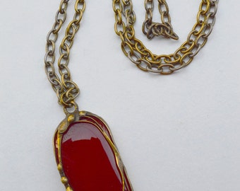 Fused Red Glass Pendant, Brass Chain