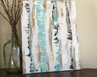 Abstract Birch Trees on canvas