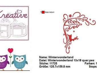 Winterwonderland, winter, Christmas embroidery