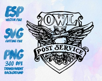 Owl Post Service Clipart , SVG Cutting , ESP Vectors files , T shirt , iron on , sticker ,Personal Use