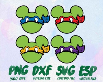 Mickey heads character Ninja Turtle Clipart , SVG Cutting , ESP Vectors files , T shirt , iron on , sticker ,Personal Use