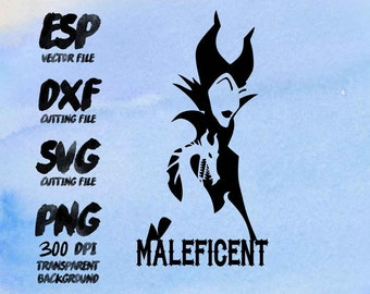 Disney Maleficent Clipart , SVG Cutting , ESP Vectors files , T shirt , iron on , sticker ,Personal Use