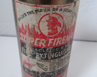 1930s Super Fireman Fire Extinguisher Fireman gift ideas, antique vintage collectibles Tetco Company Los Angelos Ca