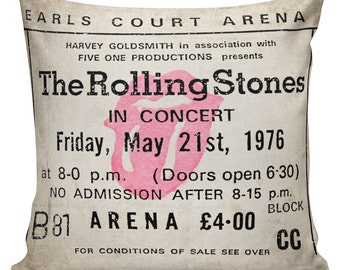 Rolling Stones, Pillow Cover, Ticket Stub, Concert Tickets, Vintage Ticket, Man Cave, Room Decor Stub24 #S20077