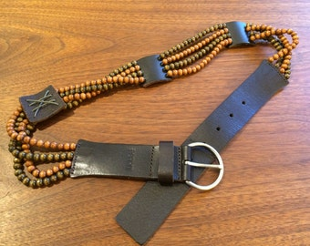 Brown Leather and Beads Belt - ESPRIT