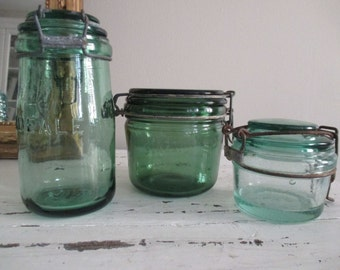 3 jars canned french pots vintage kitchen ideal