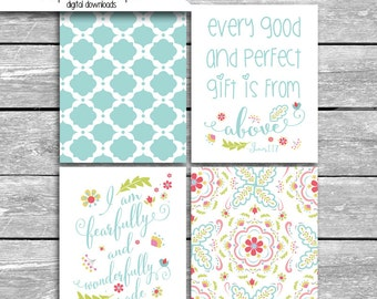 Bible Verses Gift From Above Fearfully Wonderfully Made - Set Of 4 8x10 Digital Downloads Coordinates With Peanut Shell Mila Crib Bedding