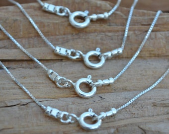 Finished Necklace -  0.7mm Box Chain Sterling Silver- 16 18 20 22 24 ,All quantities ,Bulk - Made in Italy High Quality 0.925