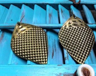 VINTAGE:  Tin Earrings Large Teardrop.{D1-117#00317}
