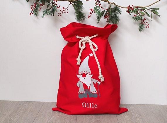 Personalised Santa Sack in Red with Santa, Christmas Sack, Christmas Bag, Christmas Decor for Kids