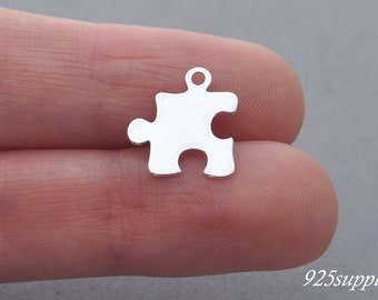 925 Sterling Silver Puzzle Charm, Silver Puzzle Pendant, Bracelet Puzzle Charm, Silver Charm, Sterling Silver Puzzle Charm, Necklace Puzzle