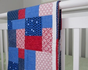 Baby Quilt, Ole Miss, Red White Blue