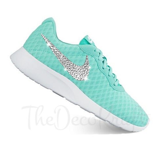 new style 495ce 4c6a0 Custom Bling Womens Nike Tanjun Hyper Turquoise by TheDecoKraft 85%OFF