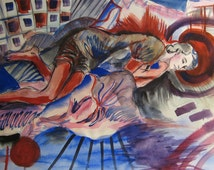Red Halo Original Painting, Surreal art, sleeping man, chanel fashion, david bowie, psychadellic, art deco, art nouveau, surrealism, boudoir