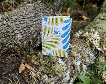 Recycled Paper Notebook / Upcycled Journal / Blue and Green Shiny Foil Fern / 100% Recycled Materials