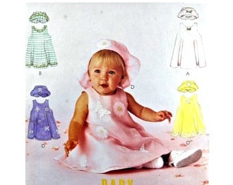 2000 McCall's 2605 Infants' Sleeveless Dress with Round Neckline, Panties and Hat, Uncut, Factory Folded Sewing Pattern Size Small-XLarge