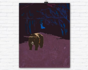 Brown Bear in Nighttime Forest Graphic Art Illustration