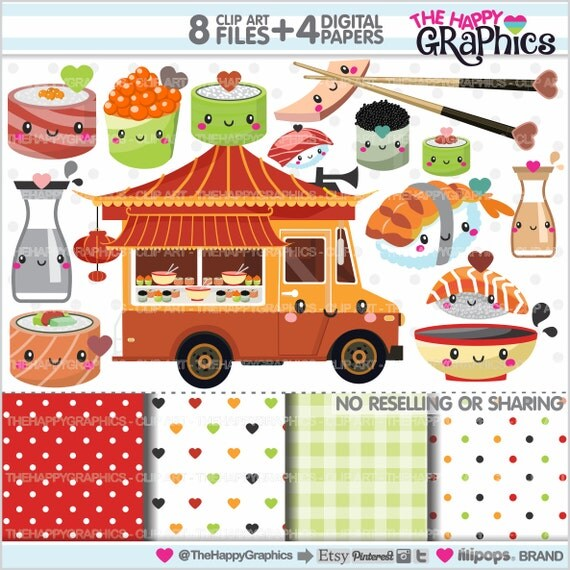 Sushi Clipart 80OFF Graphics COMMERCIAL USE Cute