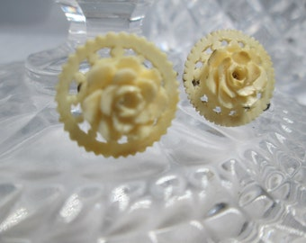 Victorian Edwardian Earrings Roses Shabby Chic 1900s