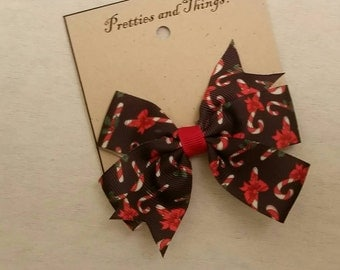 Candy Cane, Christmas, hair bow, Red, black, green and white.