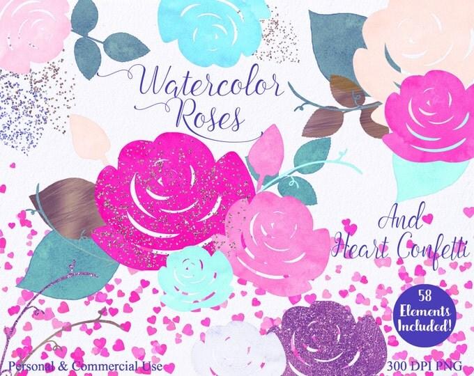 WATERCOLOR ROSES & HEART Confetti Clipart Commercial Use Clipart 58 Watercolor Pink Aqua Mint Purple Watercolor Wedding Invitation Clip Art