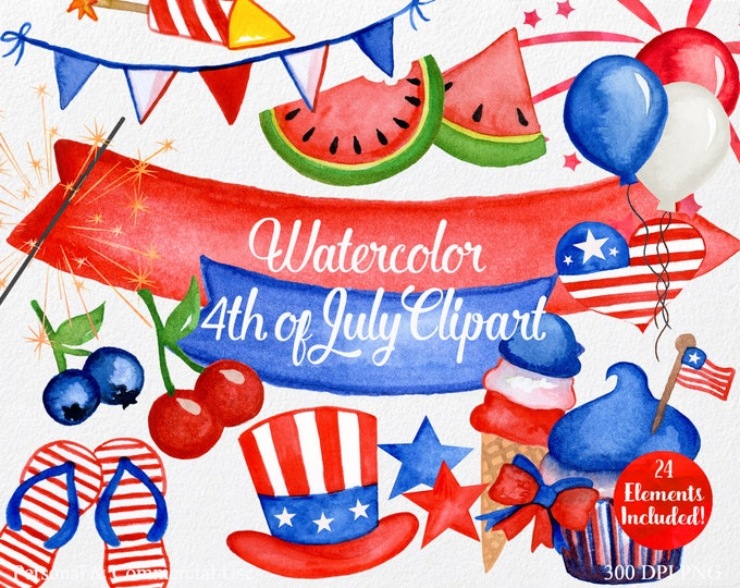 WATERCOLOR 4th of JULY Clipart Commercial Use Clipart 24 Pieces Red White & Blue Clip Art American Usa Clipart Fireworks Flag Stars Clipart