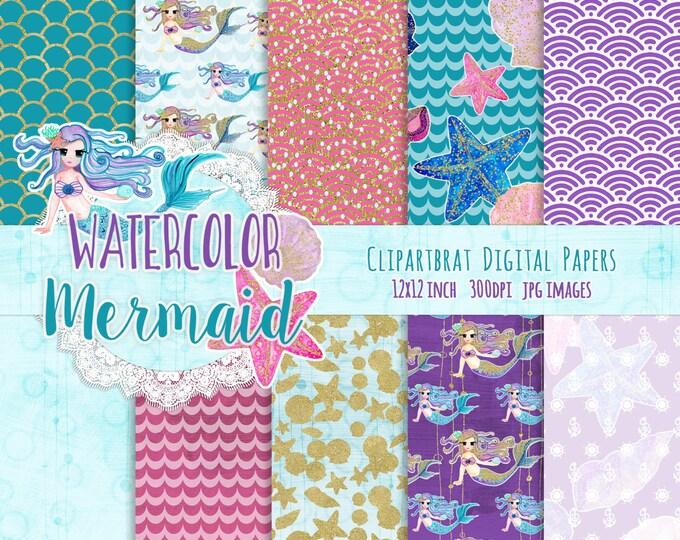 WATERCOLOR MERMAID Digital Paper Pack Commercial Use Digital Backgrounds Gold Mermaid Scale Digital Paper Ocean Beach Teal Pink Purple Paper