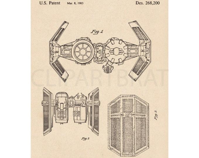 1983 STAR WARS Printable Art Print Tie Fighter Intsant Download Diagram Digital Art Vintage Star Wars Patent wall Art Printable Poster Art