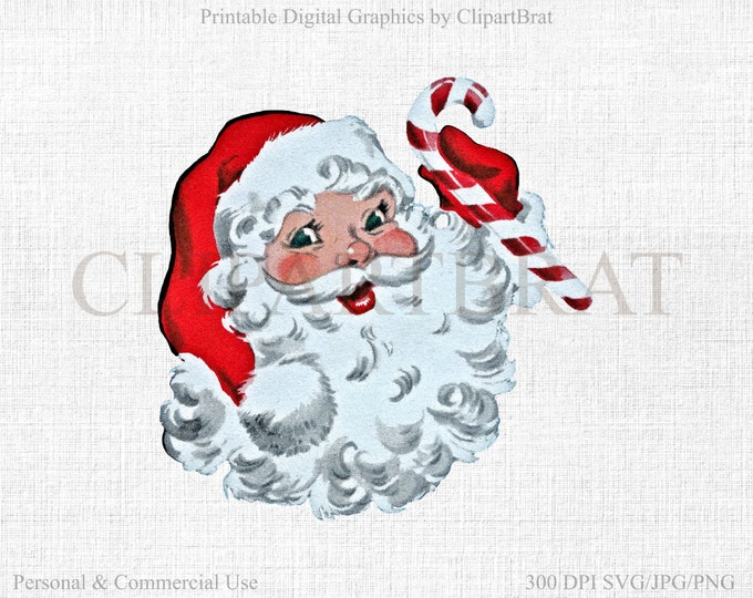 RETRO SANTA Clipart Commercial Use Clipart Santa Claus Christmas Clipart Vector Clipart Vintage Fabric Transfer Vector Graphic Jpg/Png/Svg