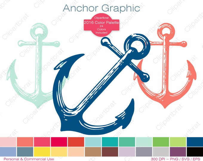 ANCHOR Clipart Commercial Use Clipart Nautical Anchor Graphic 2016 Color Palette 24 Anchors Clipart Beach Ocean Digital Sticker Svg Png Eps