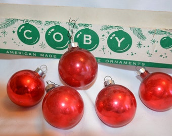 Vintage Ornaments, Red Ornaments, Made in USA,  Coby Ornaments,  Red Coby Ornaments