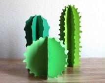 Paper Cacti - Desert Succulents - Southwestern Party - Desk Accessories - Faux Plants - Paper Sculpture -  Set of 3 - Mexican Inspired Decor