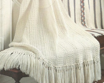 Crochet Afghan Pure Classic  with Fringe   bedspread lap blanket throw wrap vintage pattern instant download pdf