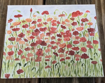 Poppies. Original 8x10 acrylic painting field of red poppies