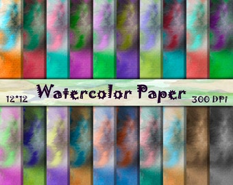 Summer watercolor Backgrounds Watercolor Digital Papers Shabby Digital Backgrounds Tie dye textures Watercolor scrapbooking paper 12x12