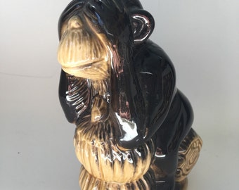 See no evil ceramic monkey