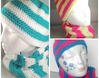 Crochet Winter Set, Hat Scarf and Gloves, Winter Accessories, Neon Bright Colours, Winter Fashion, baby kids and adults, Winter Snood