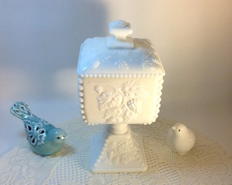 Vintage Westmoreland White Milk Glass Covered Jar Grape Motif Decorative Accent Cottage Chic Vignette