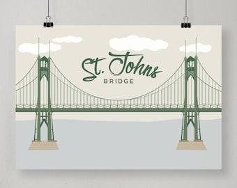 St. Johns Bridge / Illustrated Print / Portland Design