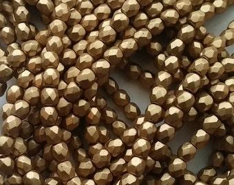 50 4mm Matte Gold, Czech Fire Polish glass faceted round, 0171