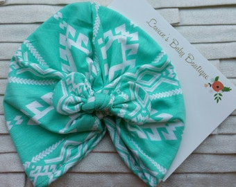 Turquoise Tribal Print with Tie Knit Turban