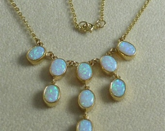 Opal Gold Necklace - Cascading Opals On A Fabulous Gold Necklace