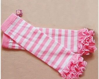 Baby Leg Warmers, Striped Leggings, baby girl legwarmers, Girl leggings baby, Pink Leggings Baby,  Ruffle Leg Warmers
