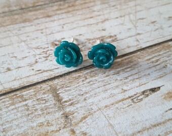 Teal Rose Studs . Earrings